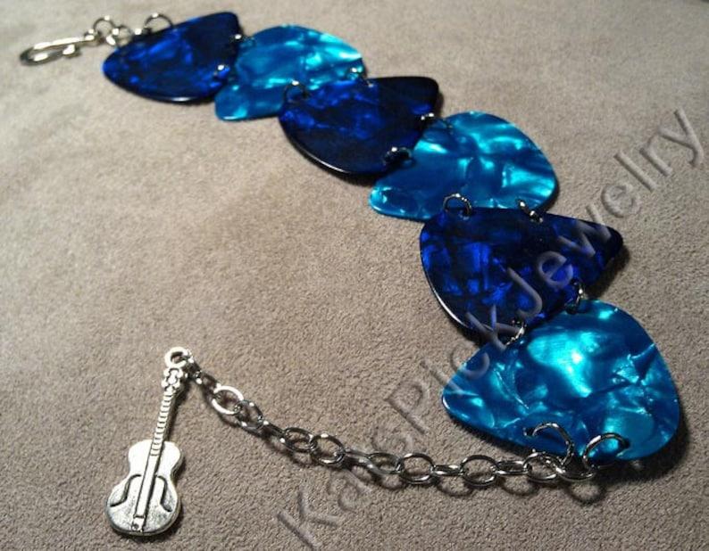 Ocean Themed Blue and Aqua Genuine Guitar Pick Bracelet With image 0