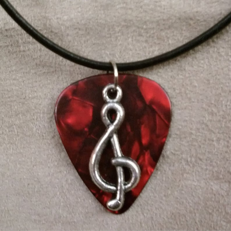 Treble Clef on Red Pearl/Pearloid Guitar Pick Necklace image 0