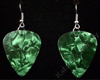 Green Pearl/Pearloid Genuine Guitar Pick Earrings