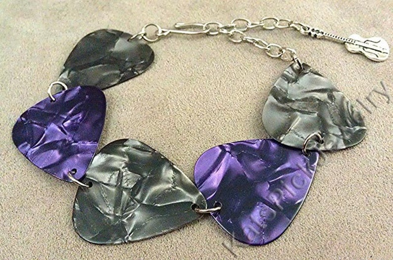 Gray/Grey and Purple Pearl Genuine Guitar Pick Bracelet image 0