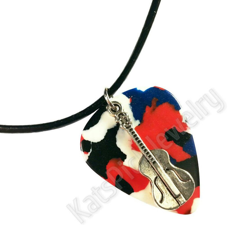Guitar on Red White & Blue Confetti Guitar Pick Necklace image 0