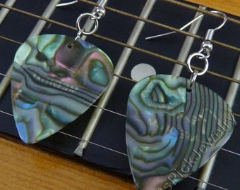 Abalone/Mother of Pearl Genuine Guitar Pick Earrings