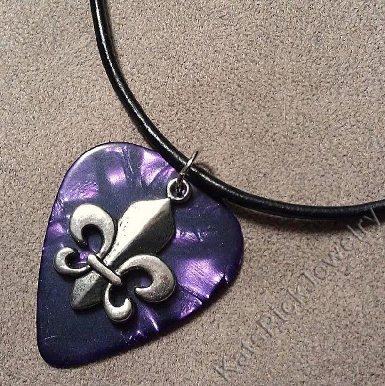 Fleur de Lis on Genuine Purple Pearl Guitar Pick Necklace image 0