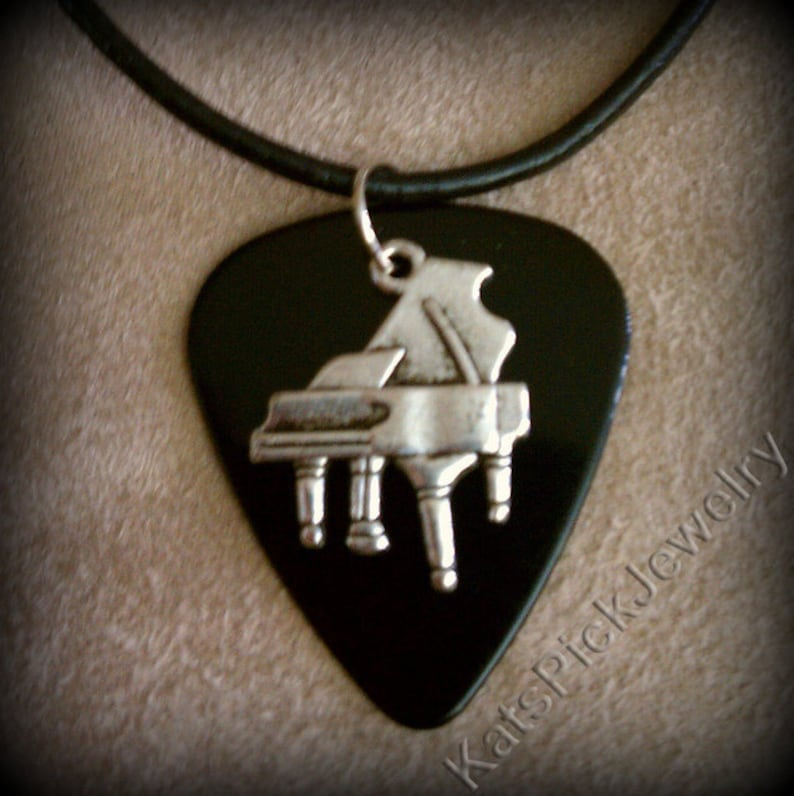 Piano on Black Guitar Pick Necklace image 0