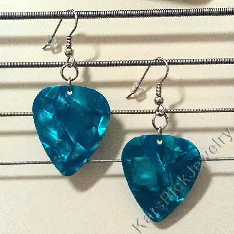 Turquoise/Aqua Pearl Genuine Guitar Pick Earrings image 0