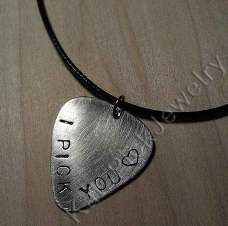 Hand Stamped Stainless Steel 'I Pick You' Guitar Pick image 0