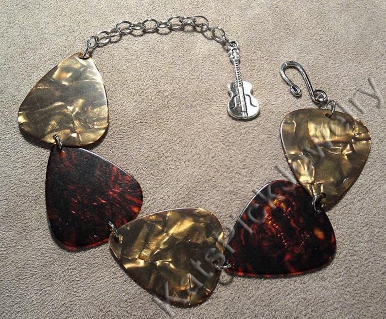 Bronze Pearl and Tortoise Shell Genuine Guitar Pick Bracelet image 0