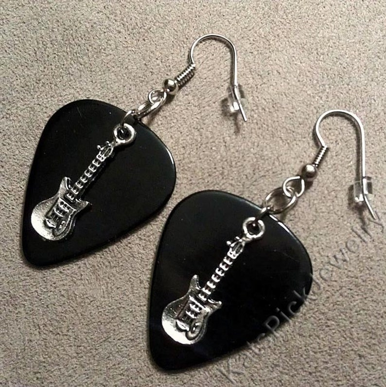 Electric Guitar Charms on Black Genuine Guitar Pick Earrings image 0