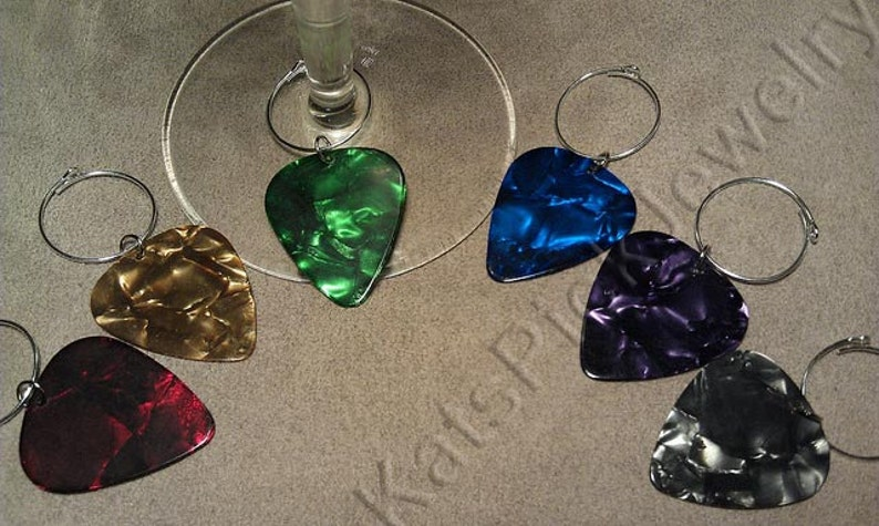 Guitar Pick Wine Charms Assorted Pearl Colors Set of 6 image 0