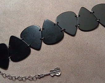 Black Genuine Guitar Pick Bracelet With Extender Chain and Guitar Charm