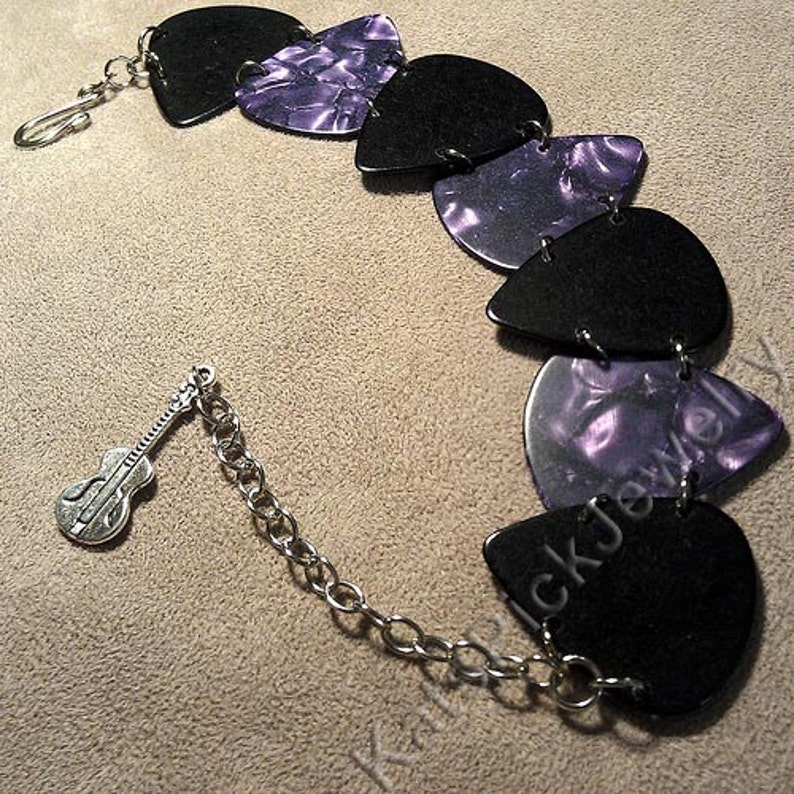 Purple Pearl and Black Genuine Guitar Pick Bracelet With image 0