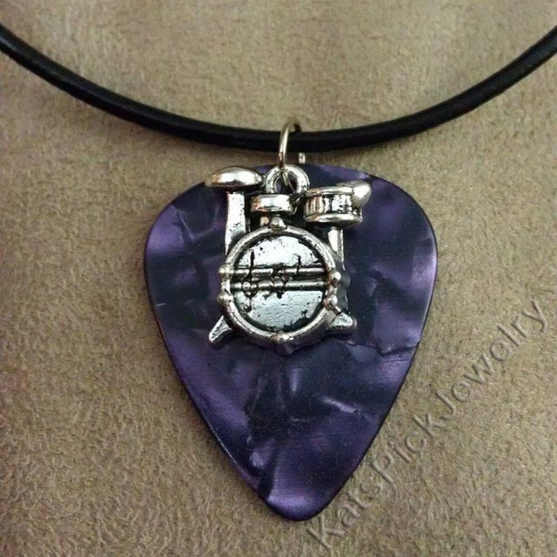 Drums/Drum Kit on Purple Pearl Genuine Guitar Pick Necklace image 0