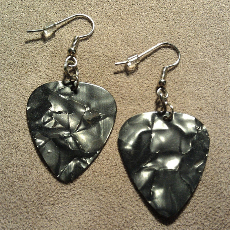 Gray/Grey Pearl Genuine Guitar Pick Earrings on Stainless image 0