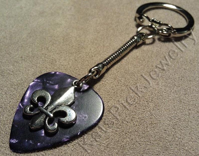 Fleur de Lis on Purple Pearl Guitar Pick w/ Snake Chain image 0