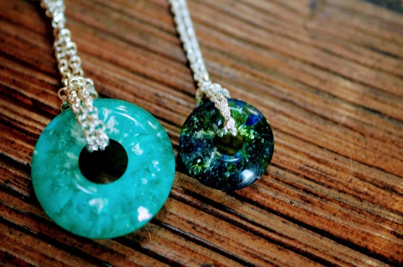 CHOOSE COLOR Sterling Silver Glass To Ashes Pendant Pet Remembrance Round Necklace 925 Green Silver Keepsake Memorial Donut Necklace