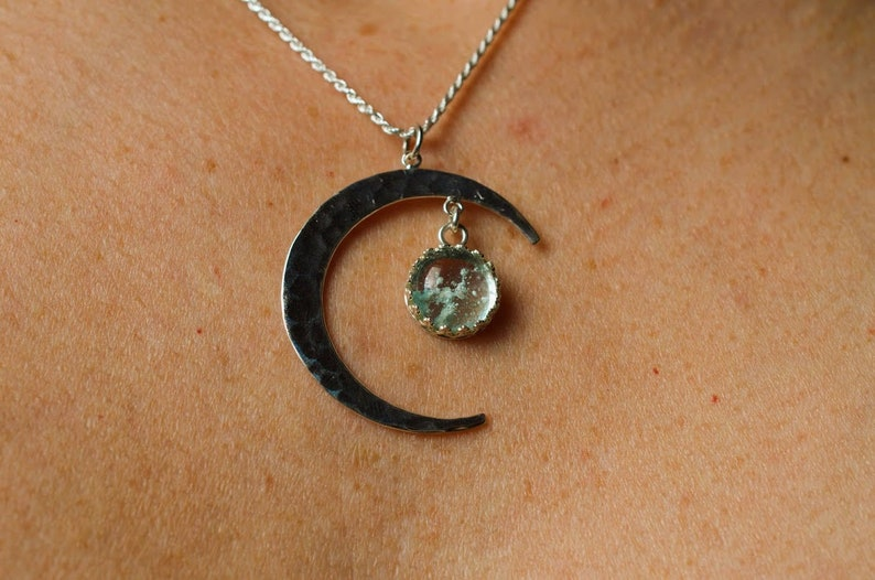 CHOOSE COLOR Animal Remembrance Jewelry Pet Ashes Crescent Pendant Loss Of Pet Space Cremation 925 Sterling Silver Moon Memorial Necklace