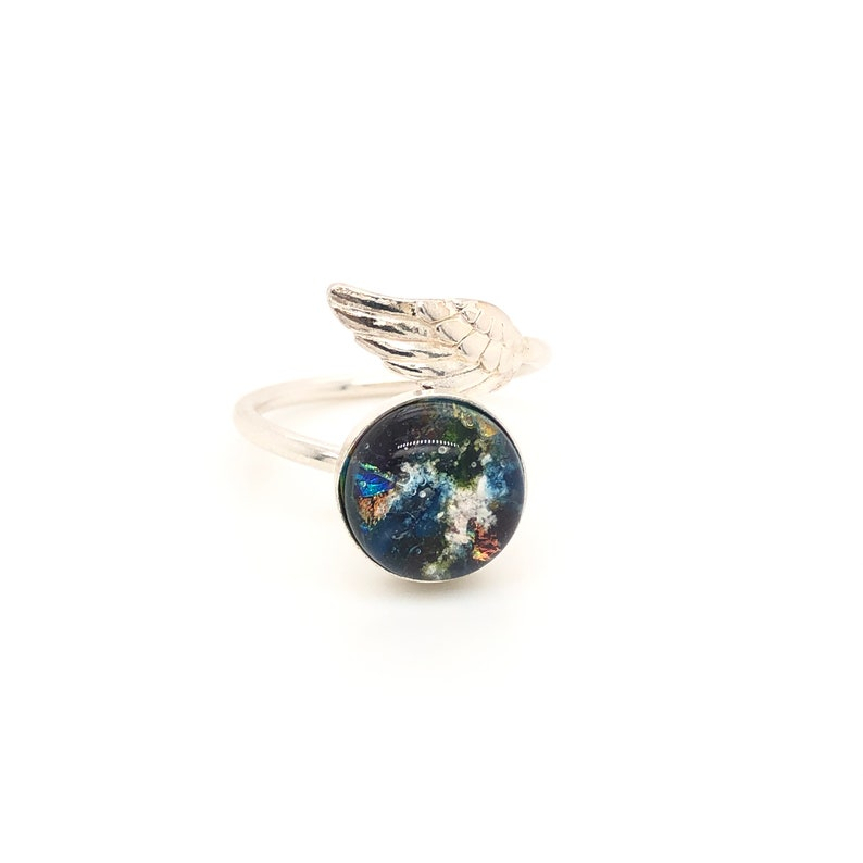 Sparkles Silver Cat Dog Cremains Ring 925 Sterling Silver Animal Ashes Memorial Ring Glass Hologram Angel Wing Pet Remembrance Ring