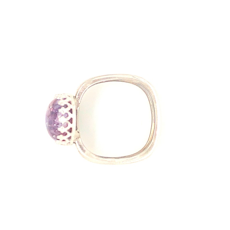 Wild Raspberry Square band  925 Silver Pet Keepsake Memorial Ring,Sterling Silver Pet Remembrance Ring Pet Ash To Glass Cremation Jewelry