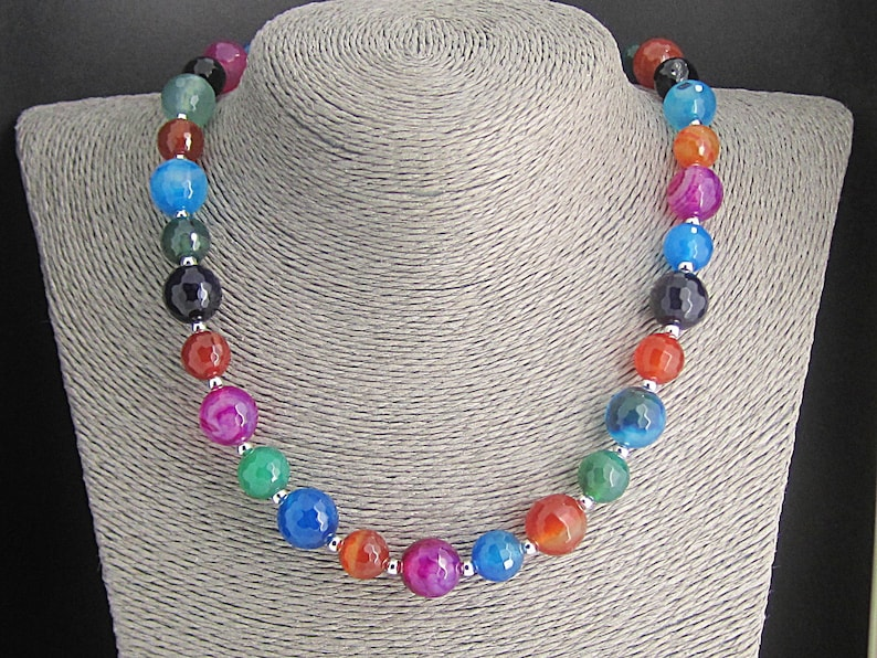 Multi colour Agate Gemstone Necklace Big Bead Chunky Jewellery Summer Accessories Ladies Natural Stone Necklace Semi Precious Jewellery
