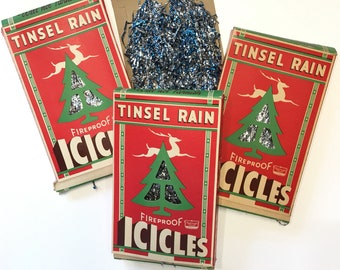 vintage lot of christmas tree tinsel rain icicles silver blue national tinsel co red cutout reindeer box