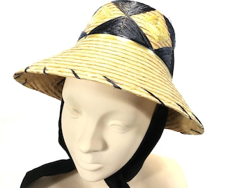 61cb2ef7b25 Vintage Raffia Embroidery Straw Sun Hat Tourist Souvenir Wide Brim Attached  Scarf Tie Black Yellow Made in Japan