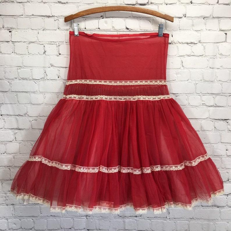 Red Nylon Half Slip Layered Gathered Semi Sheer Petticoat Womans Small Swing Dance Underskirt Rockabilly Drop Waist