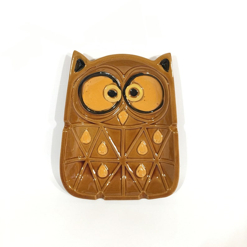 Vintage Wise Old Owl Ashtray Made in Japan Ceramic Brown Gold Large Coffee Table Size