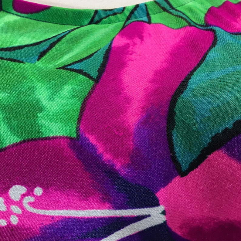 Vintage Sirena II Hawaiian Floral One Piece Swimsuit Green Pink Purple L XL 36 CD