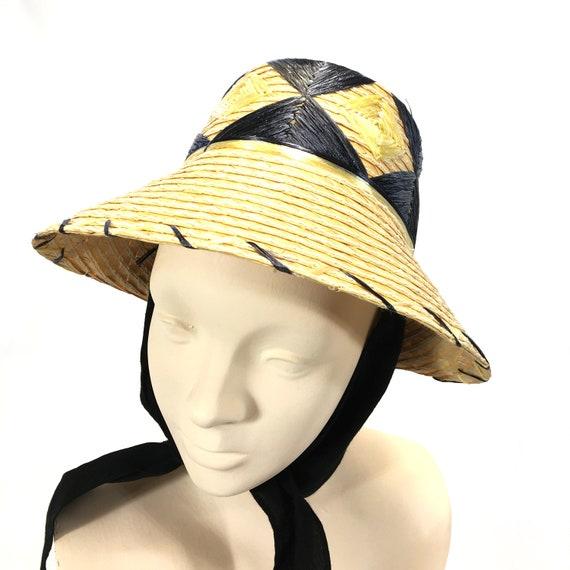 Vintage Raffia Embroidery Straw Sun Hat Tourist Souvenir Wide  f85e2a3408c