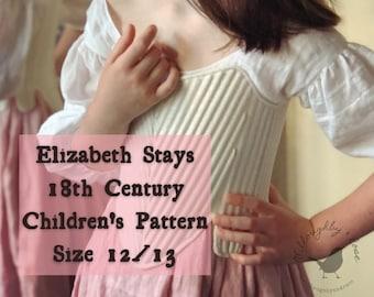 18th Century Children's Stays Pattern #WR2101 Size 12/13 -  Elizabeth Stays Pattern 1750-1780