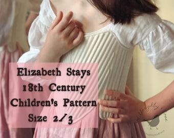 18th Century Children's Stays Pattern #WR2101 Size 2/3 -  Elizabeth Stays Pattern 1750-1780