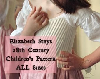ALL Sizes 18th Century Children's Stays Pattern #WR2101 -  Elizabeth Stays Pattern 1750-1780