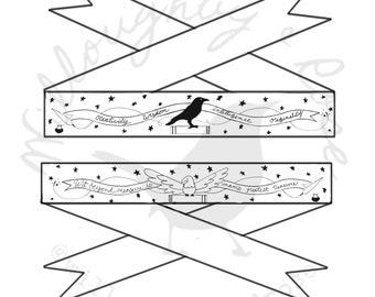 Helena Bundle - Eagle & Raven Magical 18th Century Hand Embroidered Garters - Digital PDF Pattern Download
