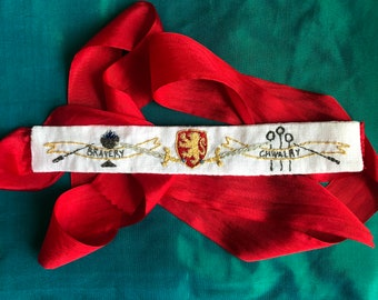 """18th Century Hand Embroidered Garters """"Lion"""" Digital PDF Pattern Download"""