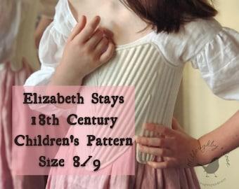 18th Century Children's Stays Pattern Size 8/9  #WR2101 -  Elizabeth Stays Pattern 1750-1780