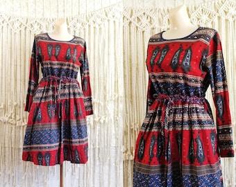 c969e0039c Vtg 90s does 70s Paisley Print Folk Dress