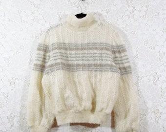 75% OFF CLEARANCE Vtg 70s Hilda Ltd. 100 Percent Wool Striped Loose Knit  Turtle Neck Icelandic Sweater 85d7c5b06