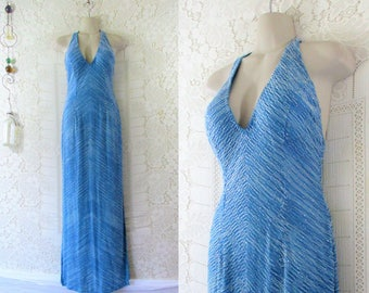 eb7fb3cb6 Vtg 90s Ocean Blue Beaded Low Back Halter Evening Gown by Cache || size S