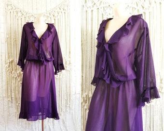 47fbb17dcd0 Vtg 90s Sheer Crepe Witchy Ruffled Dress