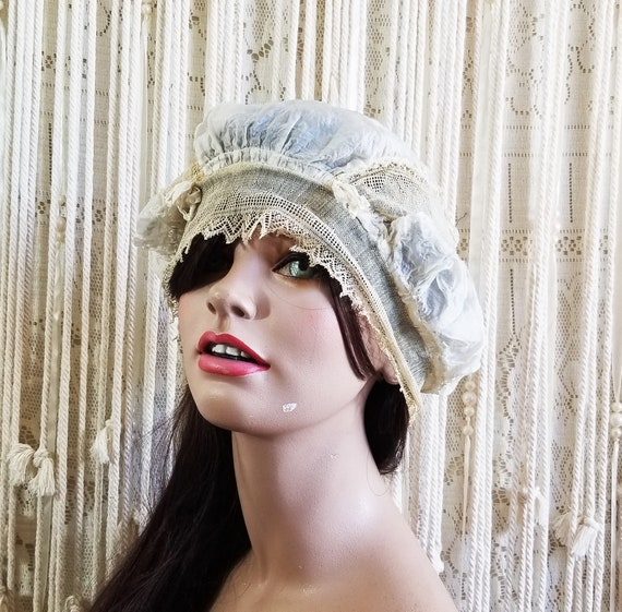 Antique 1910 / 20s Silk + Netted Lace Sleep Cap