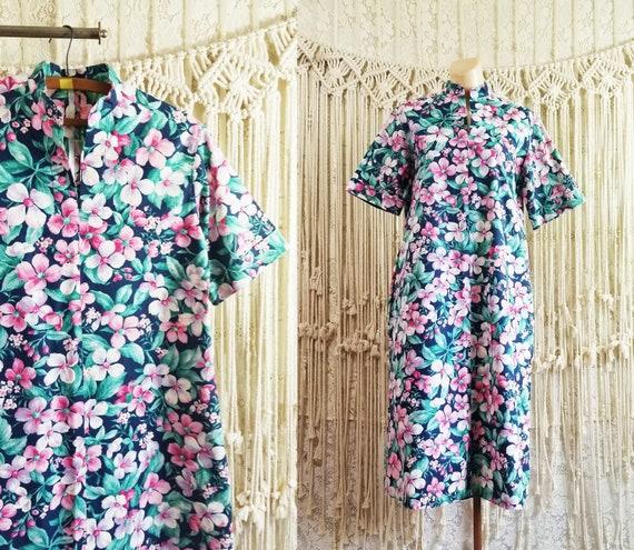 Vtg 80s Floral Print Handmade Hostess Dress / size
