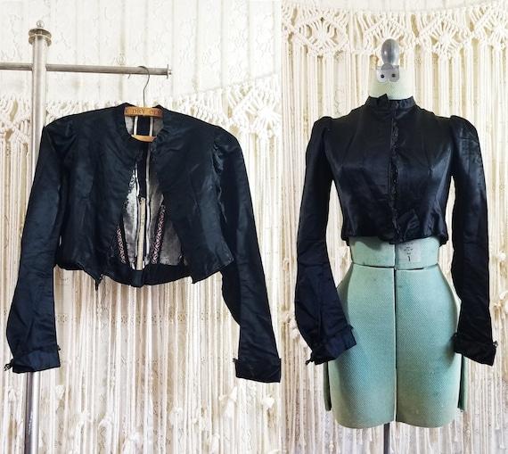 Antique 1800s Victorian High Collar Gothic Jacket
