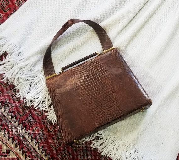 Vtg 40s 50s Snakeskin Hard Shell Handbag - image 3