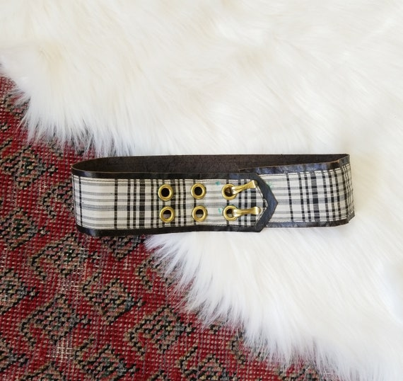Antique 1930s Wide Leather + Checks Belt / 22""