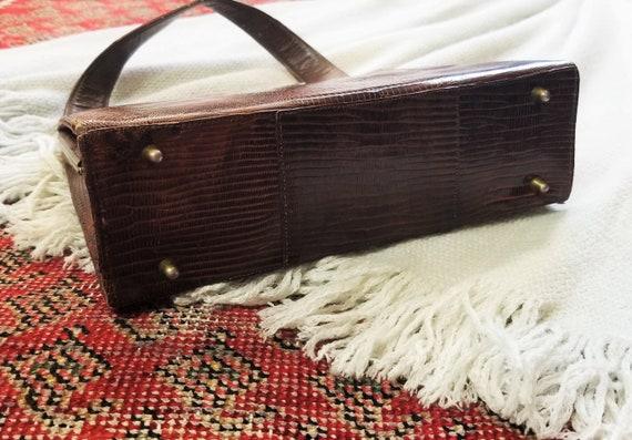 Vtg 40s 50s Snakeskin Hard Shell Handbag - image 8