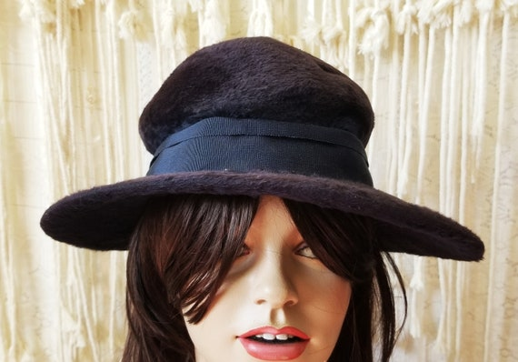 Antique 1910s / 1920s Slouchy Velvet Witchy Hat - image 2