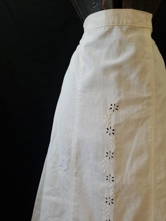 Antique 1900s Edwardian Era Embroidered Skirt / s… - image 6