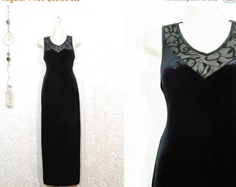 60% OFF CLEARANCE Vtg 90s Black Velvet BodyCon Sheer Illusion Lace Elegant Evening Gown sz S