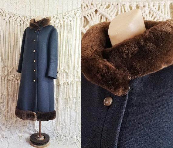 Vtg 60s Heavy Wool + Faux Fur Princess Coat / size