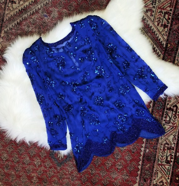 Vtg 80s I. Magnin Sheer Sequin Tunic / size M